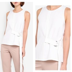 NWT Zalora Belted Loop Blouse Top White XS